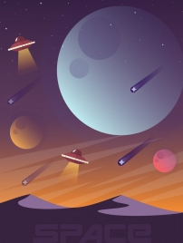 space background planets ufo icons cartoon design