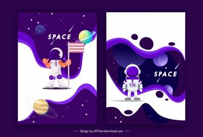 space backgrounds astronaut planets decor contrast design