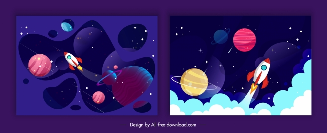 space backgrounds dark colorful planets spaceships decor