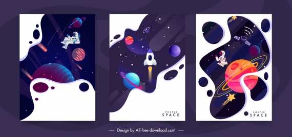 space backgrounds templates colorful dynamic planet spaceship decor