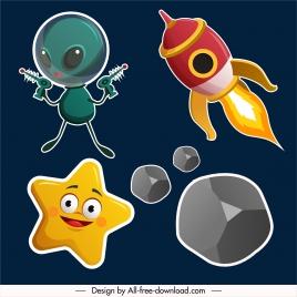 space design elements alien spaceship star aerolite sketch