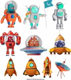 space design elements colored cartoon sketch
