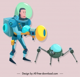 space exploration icons modern design cartoon character sketch