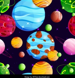 space pattern template colorful planets icons decor