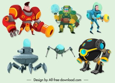 space robot icons modern design cartoon characters