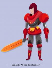 space warrior icon sword armor girl sketch
