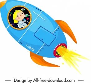 spaceship icon colored cartoon design