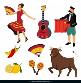 spain design elements costume sport music culinary sketch