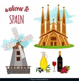 spain tourism banner national elements sketch