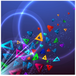 sparkle background with colorful triangles and light