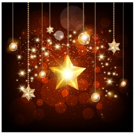 sparkling golden stars and baubles on bokeh background