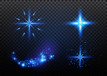 sparkling lighting icons collection various shapes isolation