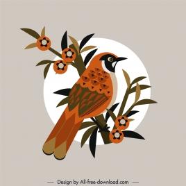 sparrow bird painting colored retro design