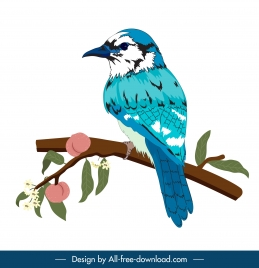 sparrow icon colored classic handdrawn sketch