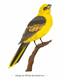 sparrow icon perching gesture classical yellow design