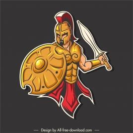spartan knight icon colored cartoon sketch