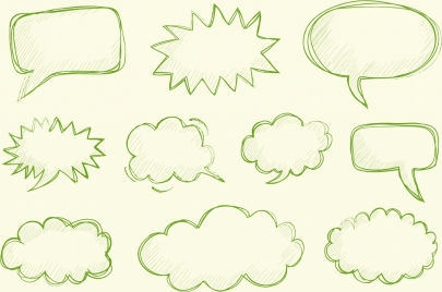 speech baubles collection handdrawn serrated cloud rounded sketch