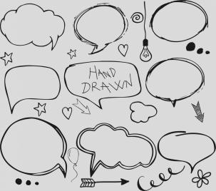 speech baubles icons flat handdrawn design