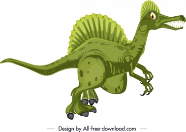spinosaurus dinosaur icon green design cartoon character