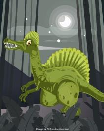 spinosaurus dinosaur painting colored cartoon design