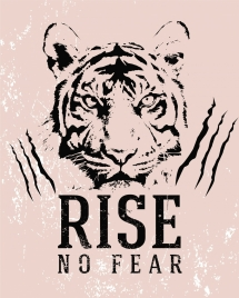 spirit banner tiger head outline retro design