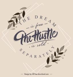 spirit motivational banner calligraphic leaf decor retro design