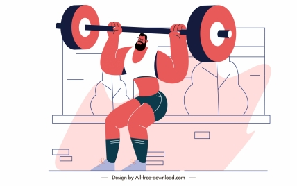 sport painting weight lifting man sketch cartoon character