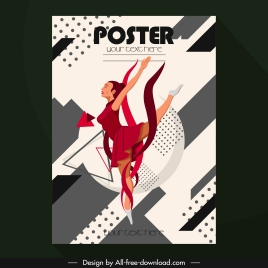 sport poster ballerina sketch colored cartoon character