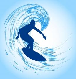 sports background surfing man icon silhouette design
