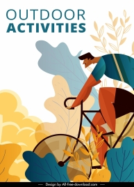 sports banner bicyclist icon colorful classic flat design
