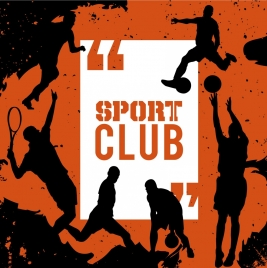 sports banner players icons silhouette grunge design