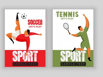 sports banner sets soccer tennis theme player icons