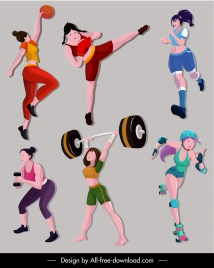 sports girls icons colored cartoon characters sketch