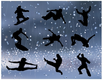 sports promotion silhouettes illustration on bokeh background