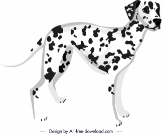spotted dog icon black white decor cartoon character