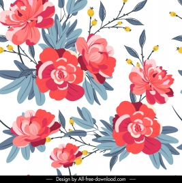 spring background colorful blooming petals sketch