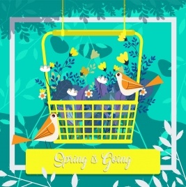spring background flowers basket birds icons decor