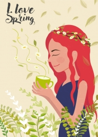 spring banner cute woman flowers icons classical design