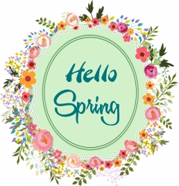 spring banner multicolored flowers wreath decoration