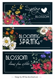 spring banner templates colorful blooming flowers decor