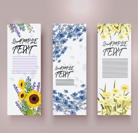 spring banner templates colorful flowers decoration vertical design