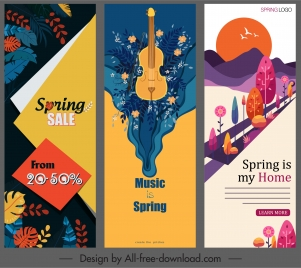 spring banners templates colorful classical decor vertical shape