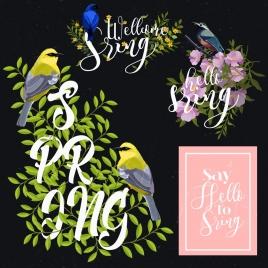 spring design elements birds flowers icons classical design