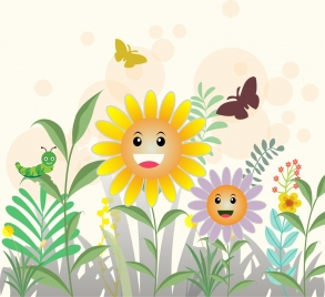 spring flowers fied background colorful stylized cartoon ornament