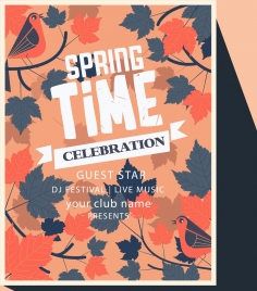 spring music flyer leaf birds icons multicolored retro