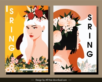 spring poster templates young lady portrait botany decor