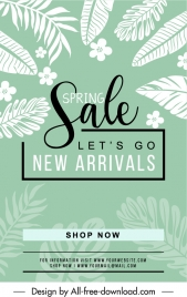 spring sale banner flat leaf handdrawn sketch