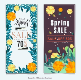 spring sale banners templates multicolored floras vertical design