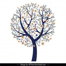 spring tree icon blossom sketch classic flat