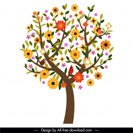 spring tree icon colorful flat handdrawn blooming sketch